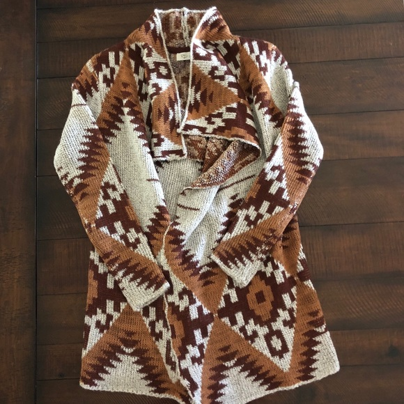 RD Style Sweaters - RD Style Tribal Print Open Cardigan